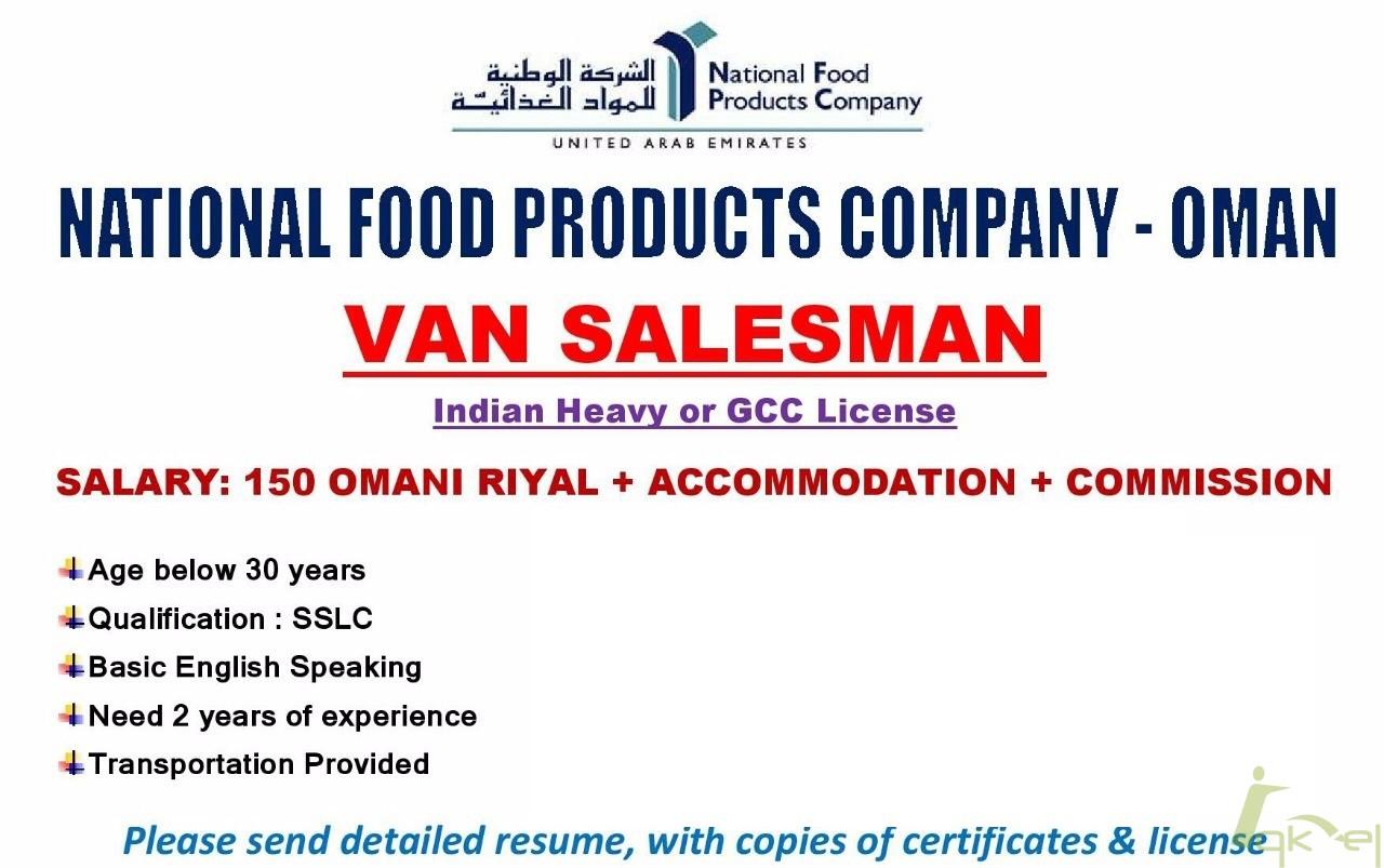 Van Salesman Needed for Oman
